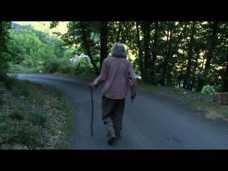 Diourka, de dos, marche le long d'une route avec son bâton de berger