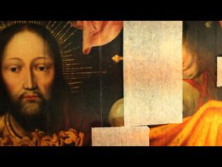 Gros plan sur un tableau religieux ancien