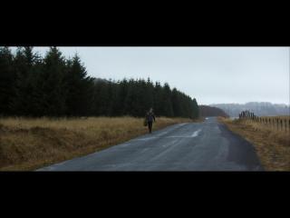 Un homme marche au bord d'une route bordée de champs à l'herbe jaunie et d'une forêt de sapins